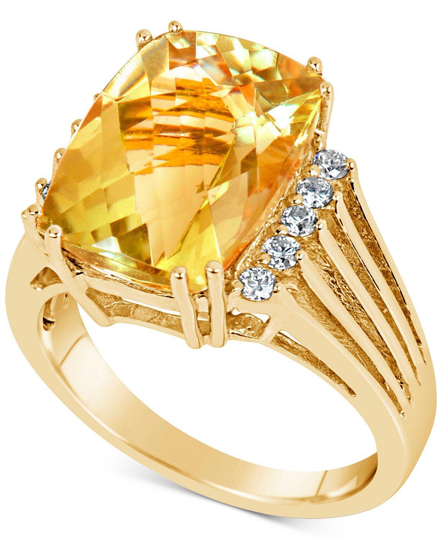 Macy's 14k Gold Citrine & Diamond Ring
