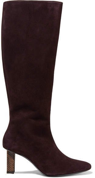 Benny Snake-effect Leather-trimmed Suede Knee Boots - Brown