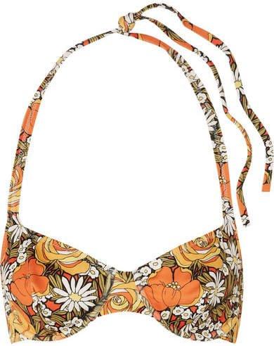 Floral-print Underwired Halterneck Bikini Top - Orange