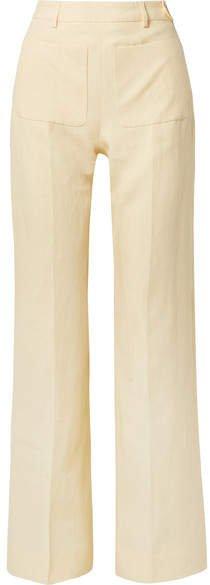 Pia Linen Straight-leg Pants - Pastel yellow