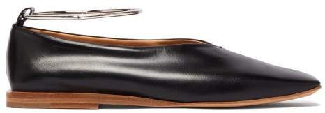 Two Tone Square Toe Leather Ballet Flats - Womens - Black Brown