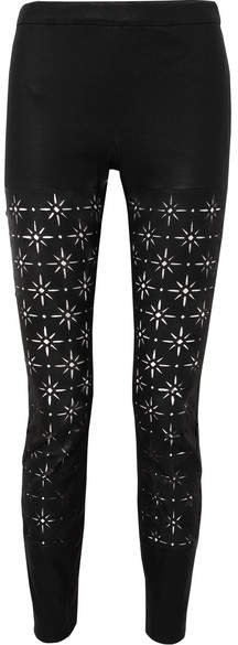 Laser-cut Leather Slim-leg Pants - Black