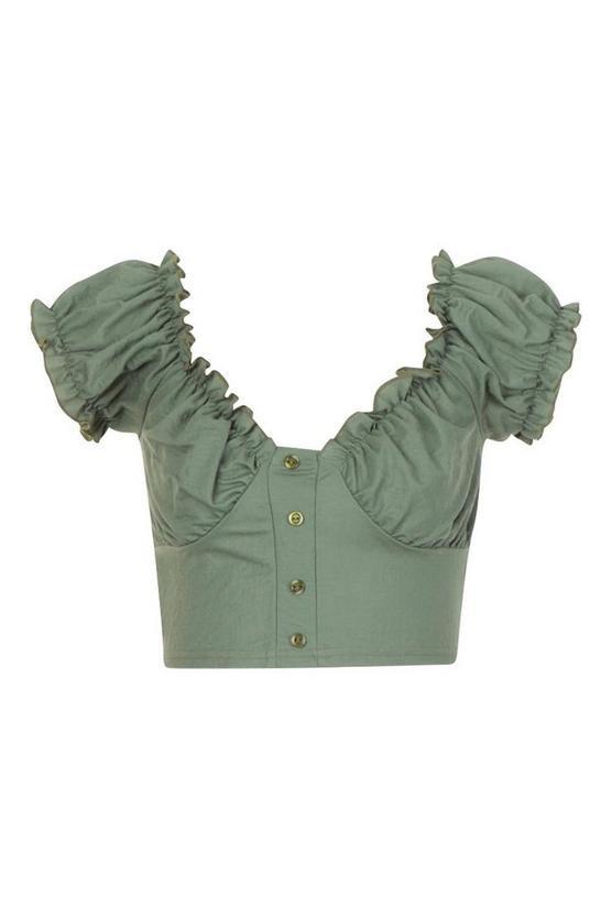 Linen Look Off The Shoulder Crop Top | Boohoo