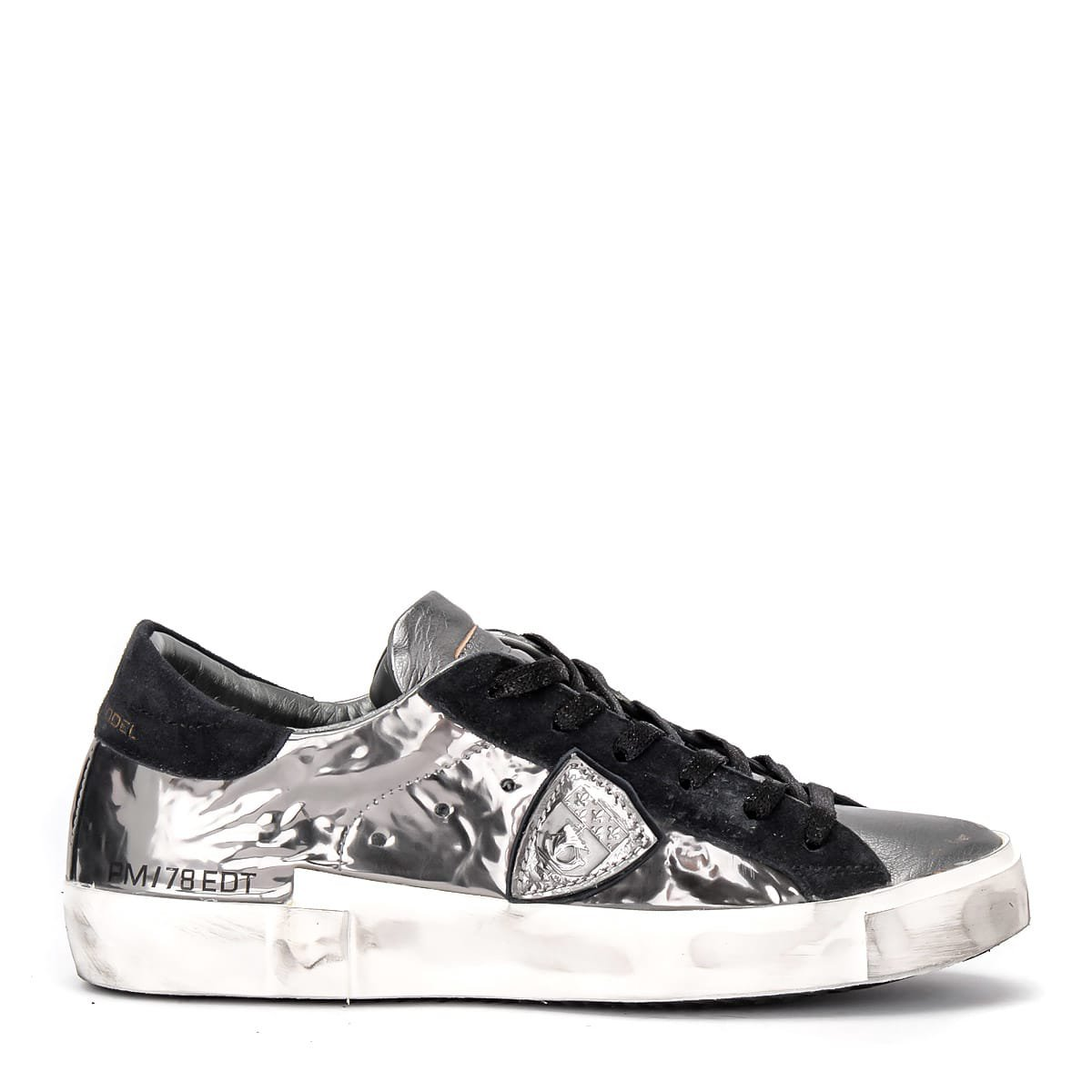 Philippe Model Paris X Sneaker In Laminated Silver Leather