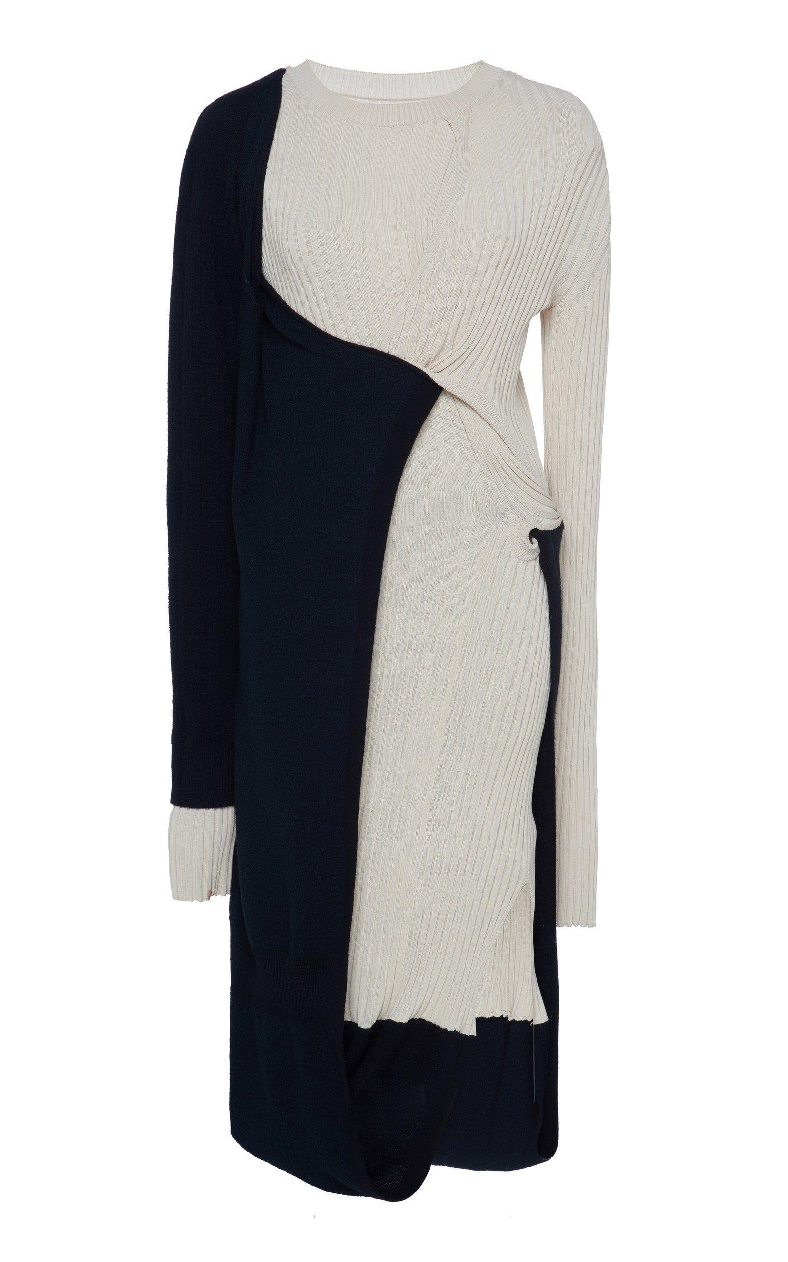 Bottega Veneta Ribbed Two-Tone Mohair-Blend Midi Dress