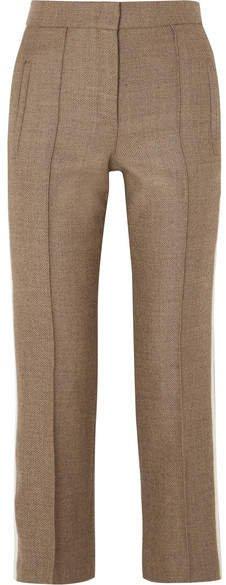 Striped Silk-trimmed Fleece Wool-blend Straight-leg Pants - Brown