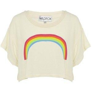 Wildfox Rainbow Cropped T-Shirt