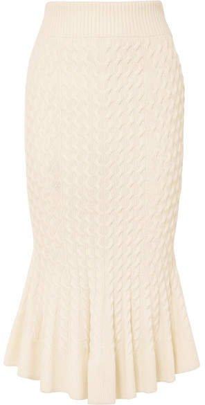 Cable-knit Linen-blend Midi Skirt - Cream