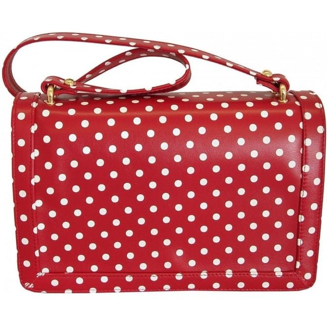 bag red with white polka dots