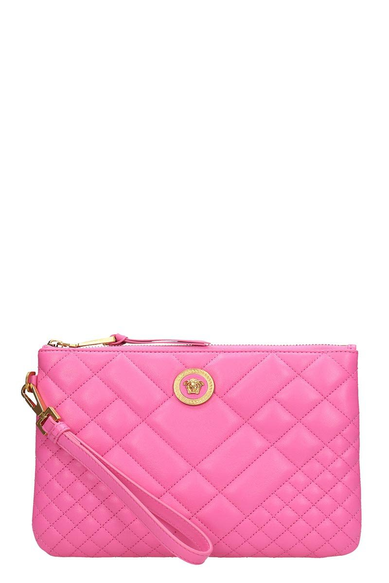 Versace Pink Quilted Leather Clutch Bag