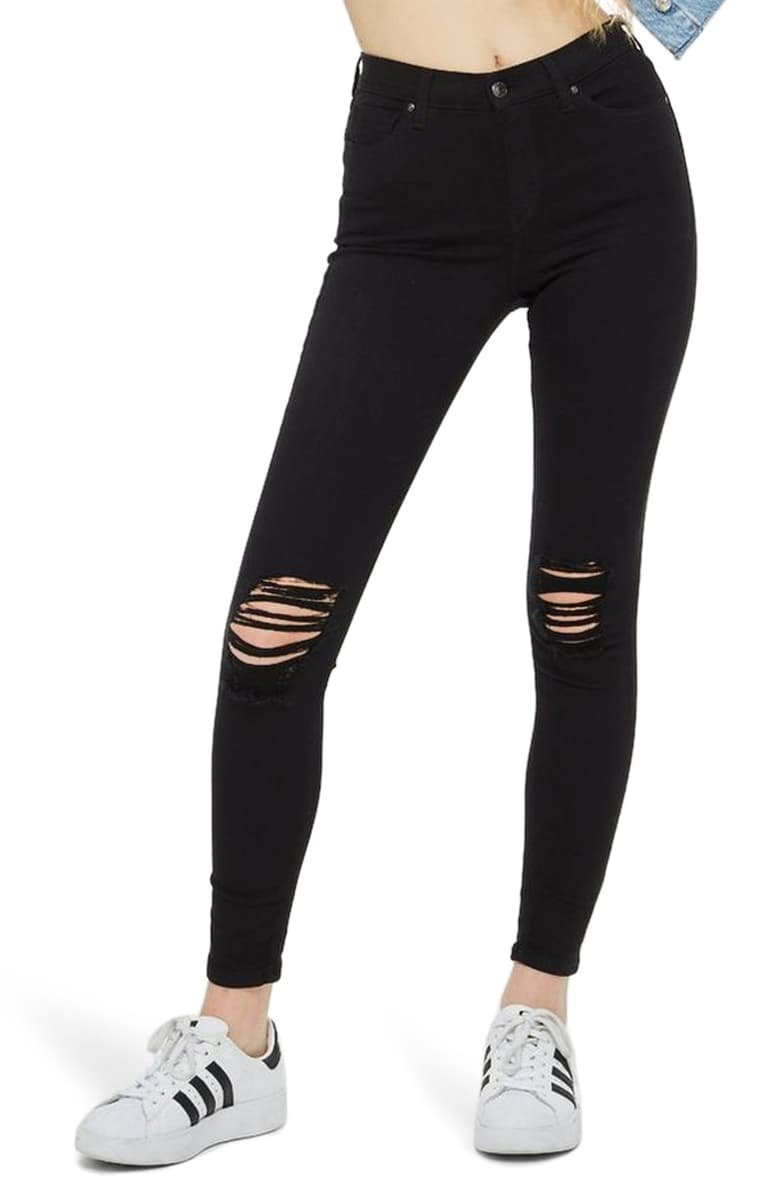 Topshop Moto Jamie High Waist Ripped Black Jeans (Regular & Petite)   Nordstrom