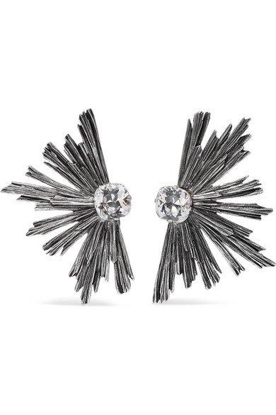 SAINT LAURENT   Silver-tone crystal clip earrings   NET-A-PORTER.COM