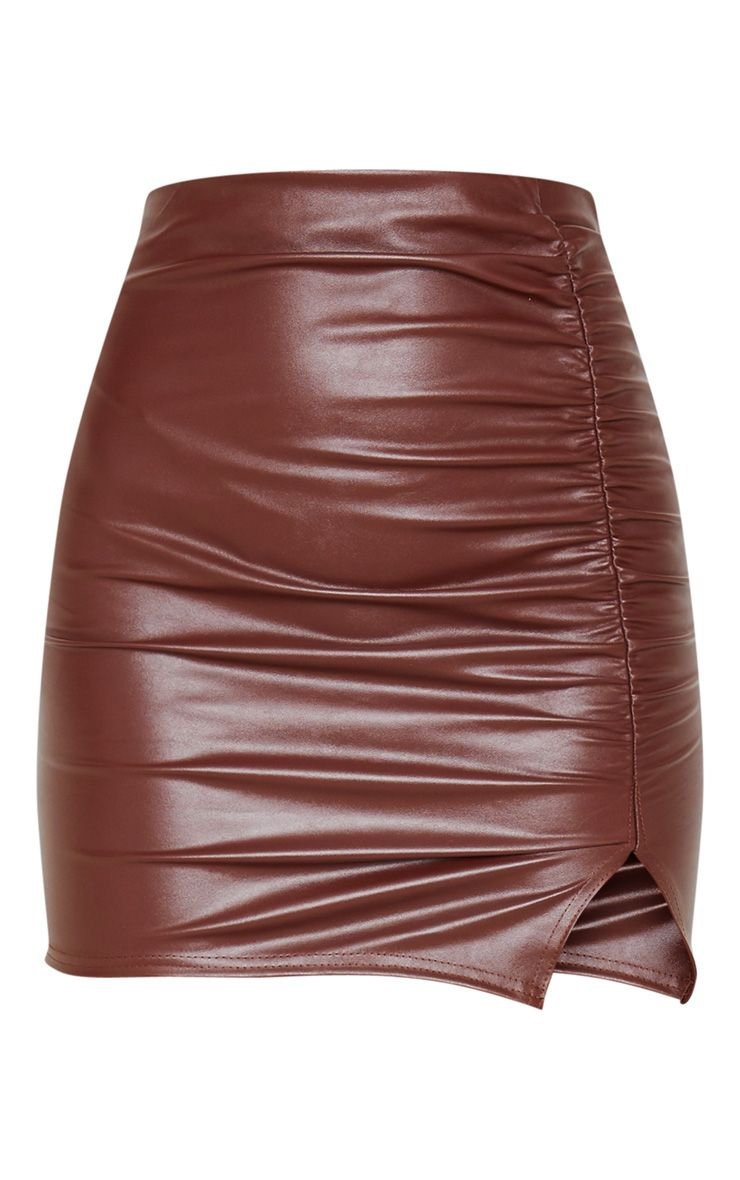 Chocolate Coated Ruched Split Mini Skirt | PrettyLittleThing
