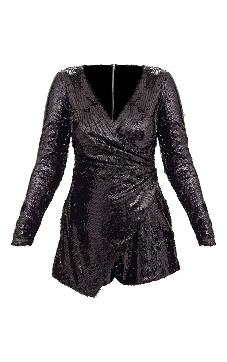 Black Sequin Long Sleeve Wrap Romper | PrettyLittleThing USA