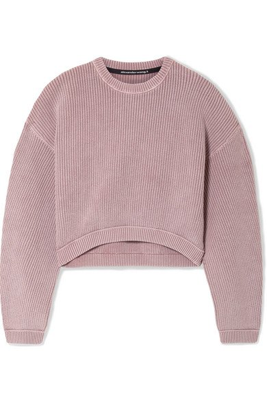 alexanderwang.t | Cropped ribbed cotton-blend sweater | NET-A-PORTER.COM
