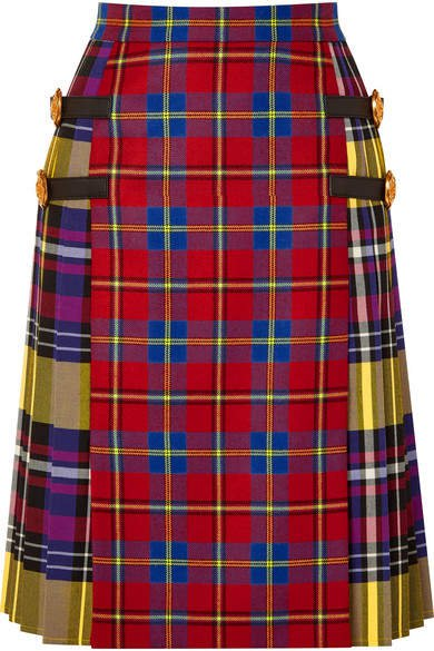 Leather-trimmed Tartan Wool Skirt - Red