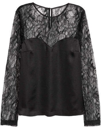 Satin Blouse with Lace Sleeves - Black