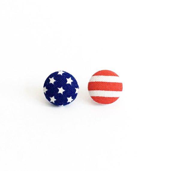 American Flag Earrings Patriotic Earrings Stars and Stripes   Etsy