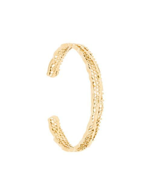 Aurelie Bidermann 18kt yellow gold diamond vintage lace bracelet