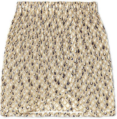 Metallic Crochet-knit Mini Skirt - Gold