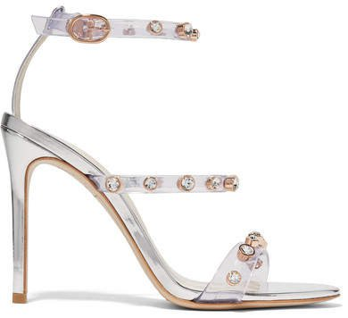 Rosalind Crystal-embellished Pvc And Metallic Leather Sandals - Silver