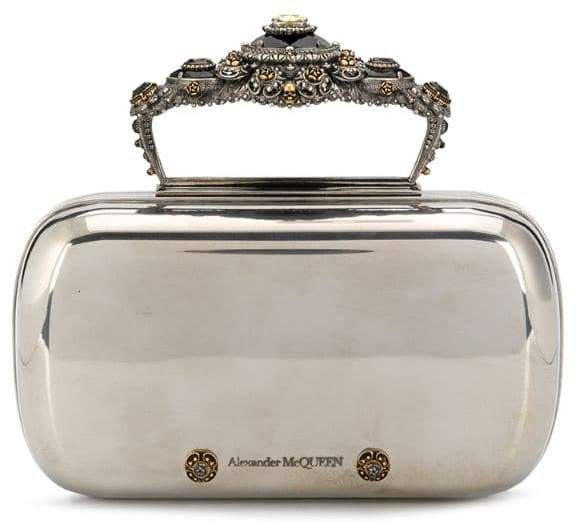 embellished handle clutch bag