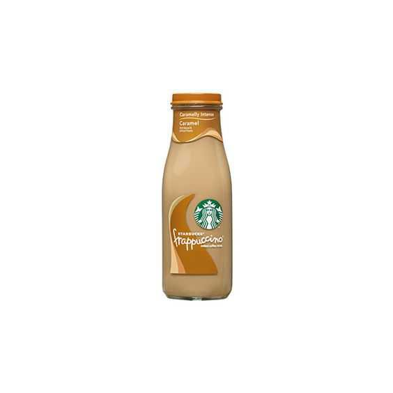 Starbucks Bottled Caramel Frappuccino Coffee Drink ❤ liked on Polyvore featuring food, food and drink, drinks, starbucks and fillers