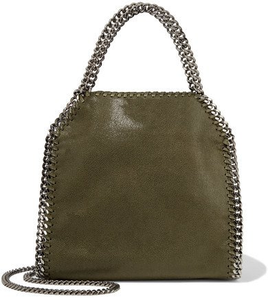 Falabella Mini Faux Brushed-leather Shoulder Bag - Army green