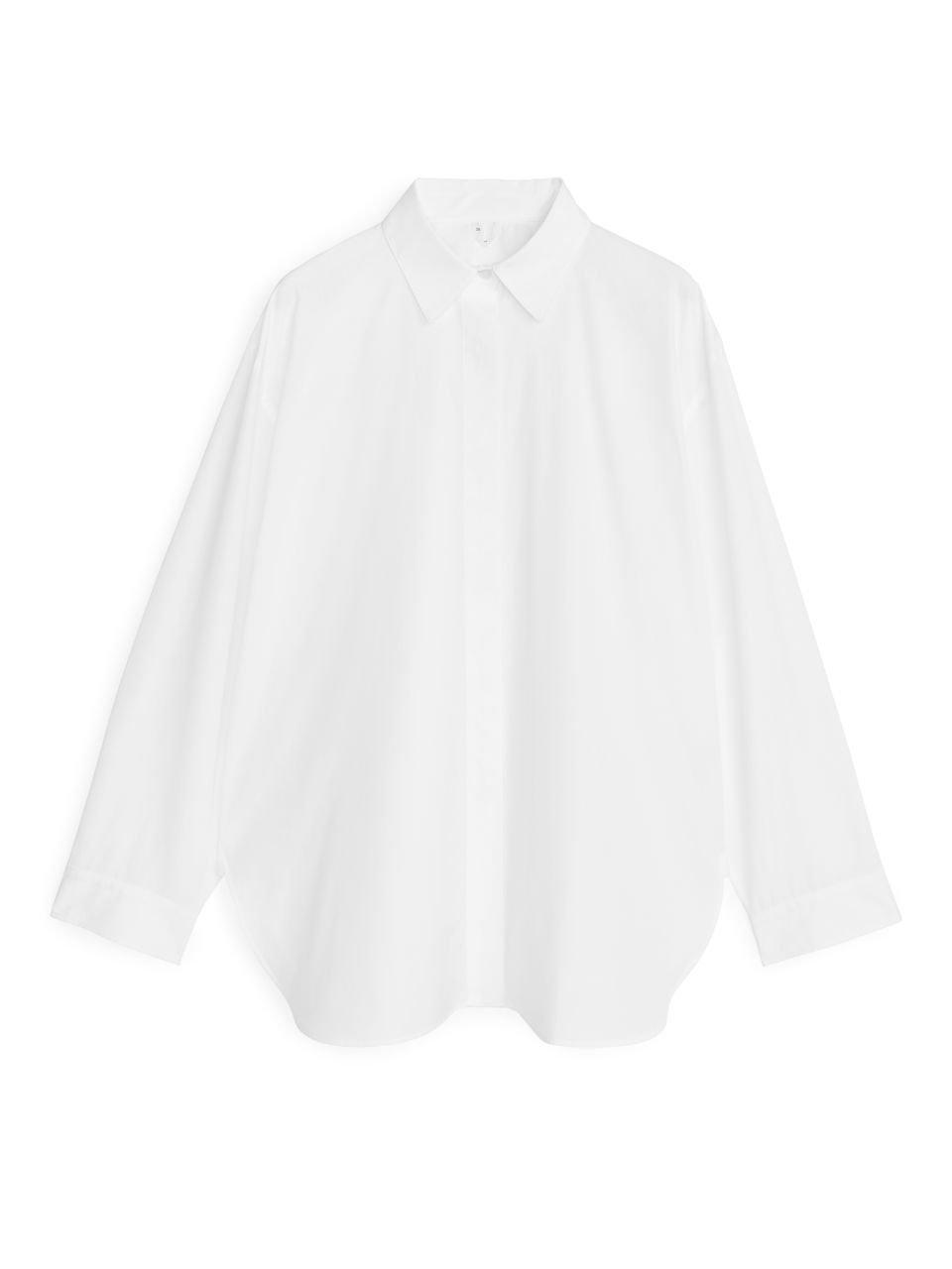 Relaxed Poplin Shirt - White - Shirts & blouses - ARKET SE