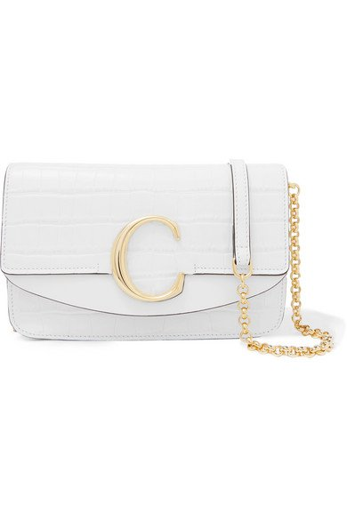 Chloé | Chloé C mini leather-trimmed croc-effect shoulder bag | NET-A-PORTER.COM