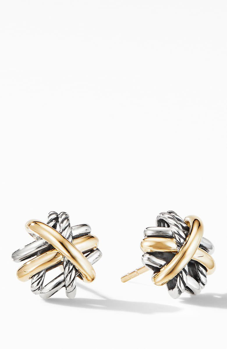 David Yurman Crossover Stud Earrings with 18K Yellow Gold   Nordstrom