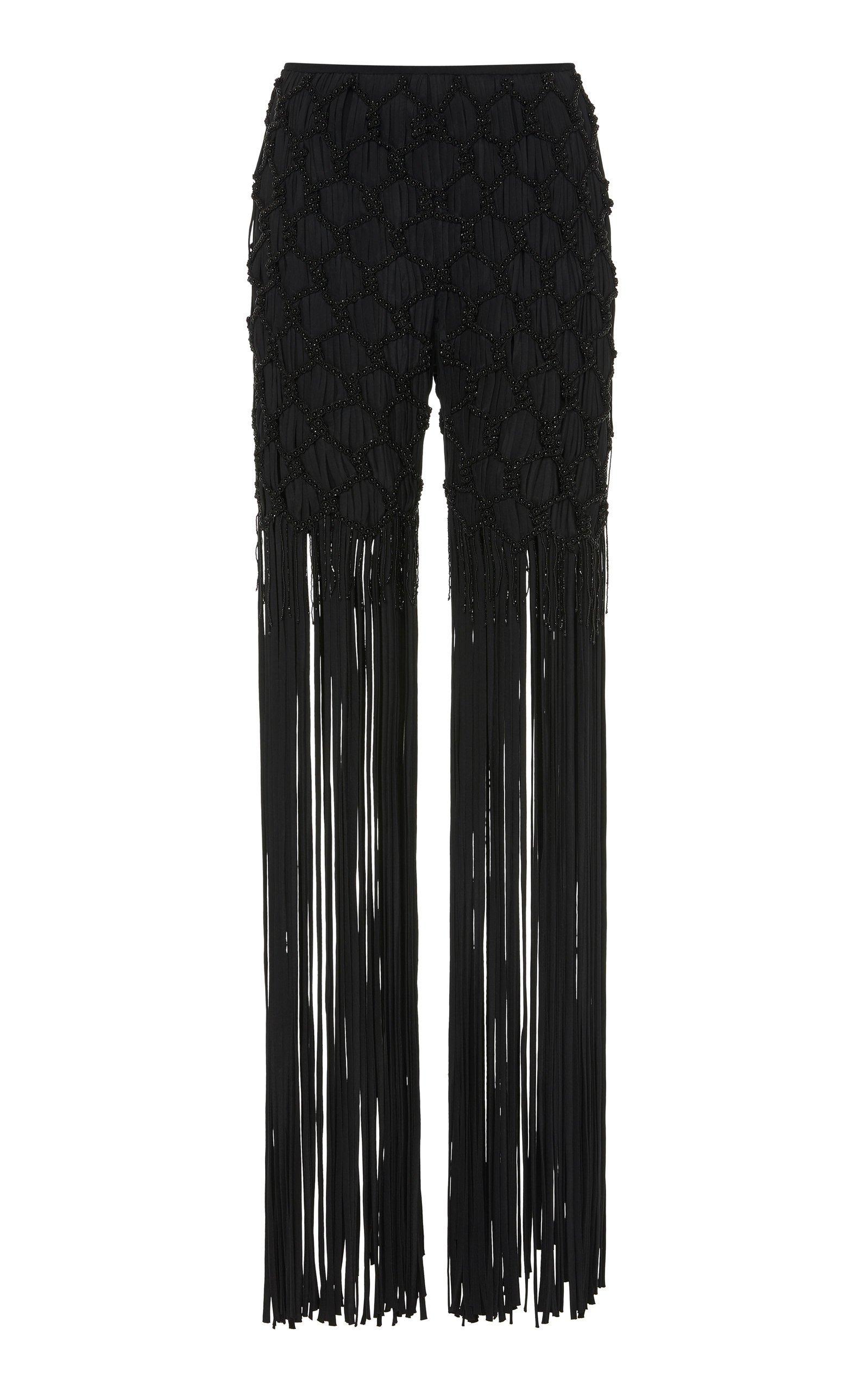 SemSem Embroidered Fringe-Accented Pants