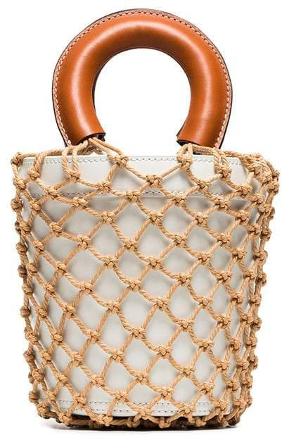Staud white and brown moreau macrame and leather bucket bag