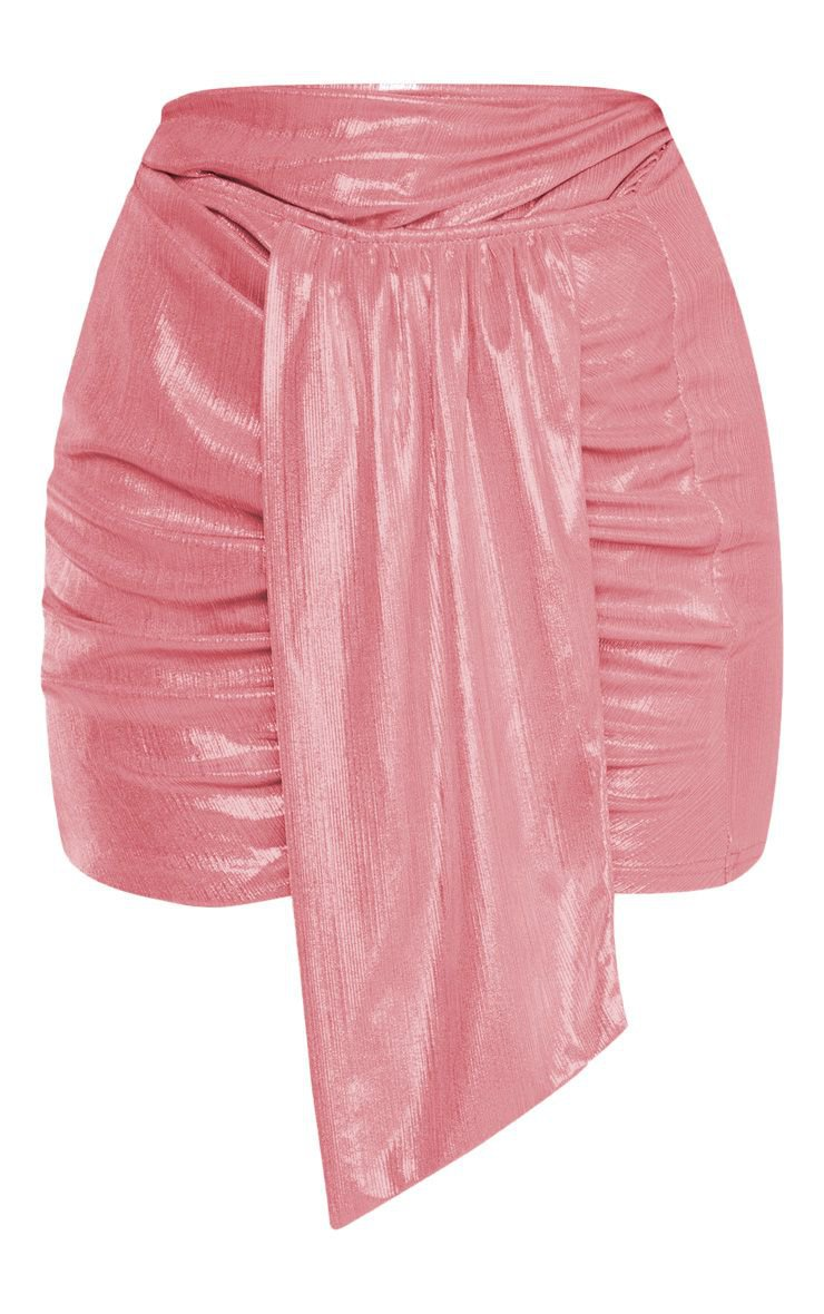 Pink Metallic Ruched Mini Skirt | PrettyLittleThing USA