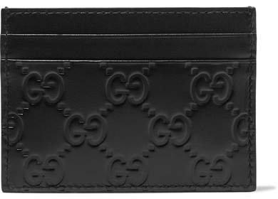 Embossed Leather Cardholder - Black