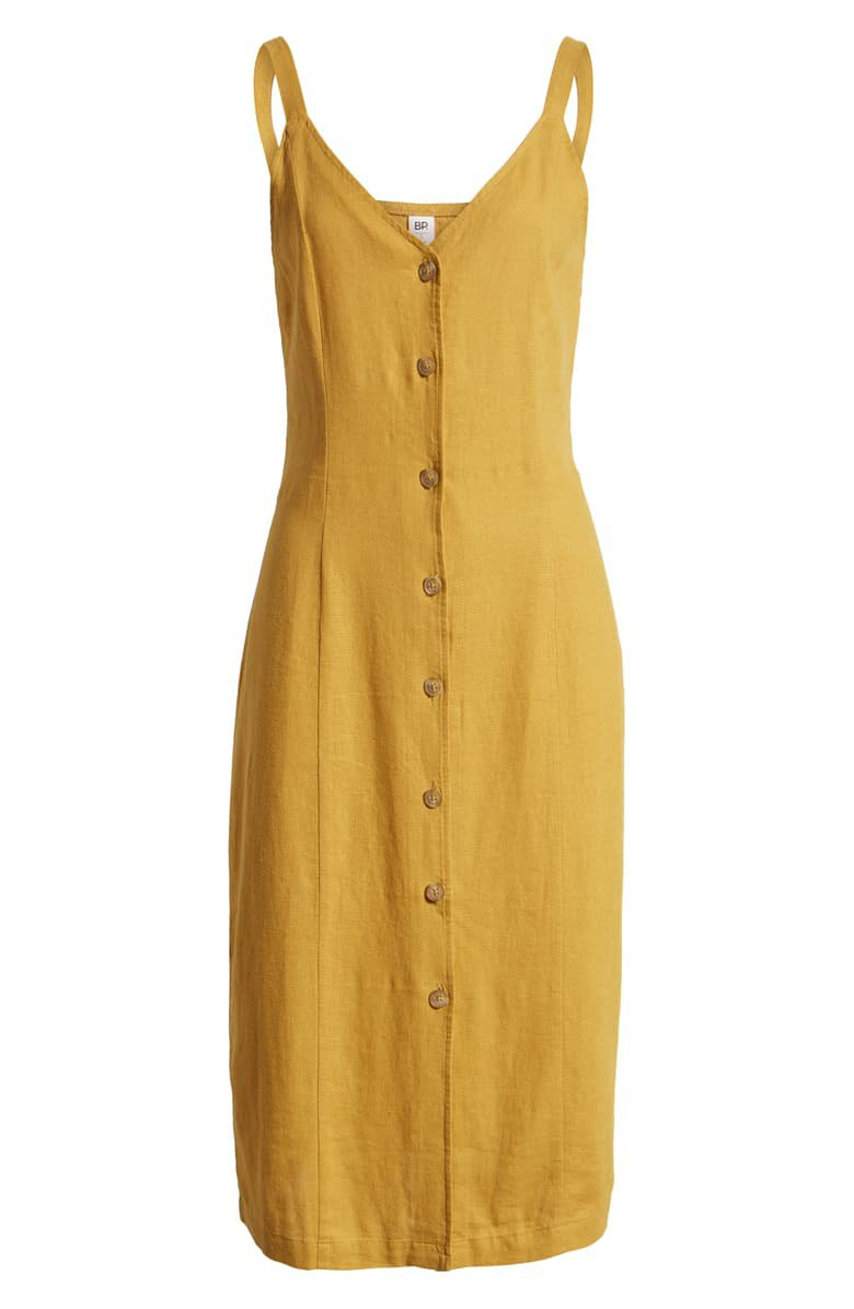 BP. Linen Blend Midi Sundress (Regular & Plus Size) | Nordstrom