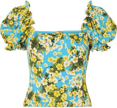 Ruffled Floral-print Stretch-silk Blouse - Blue