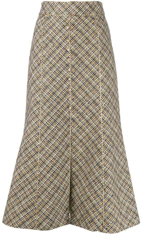 checked tweed A-line skirt