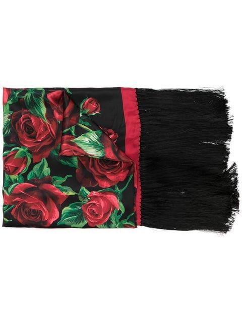 Dolce & Gabbana floral print fringed scarf