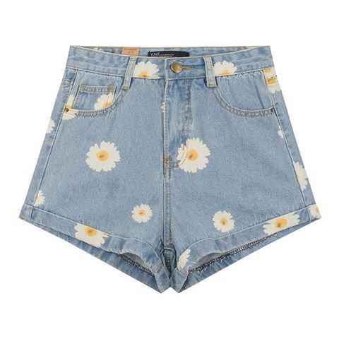 denim daisy printed shorts