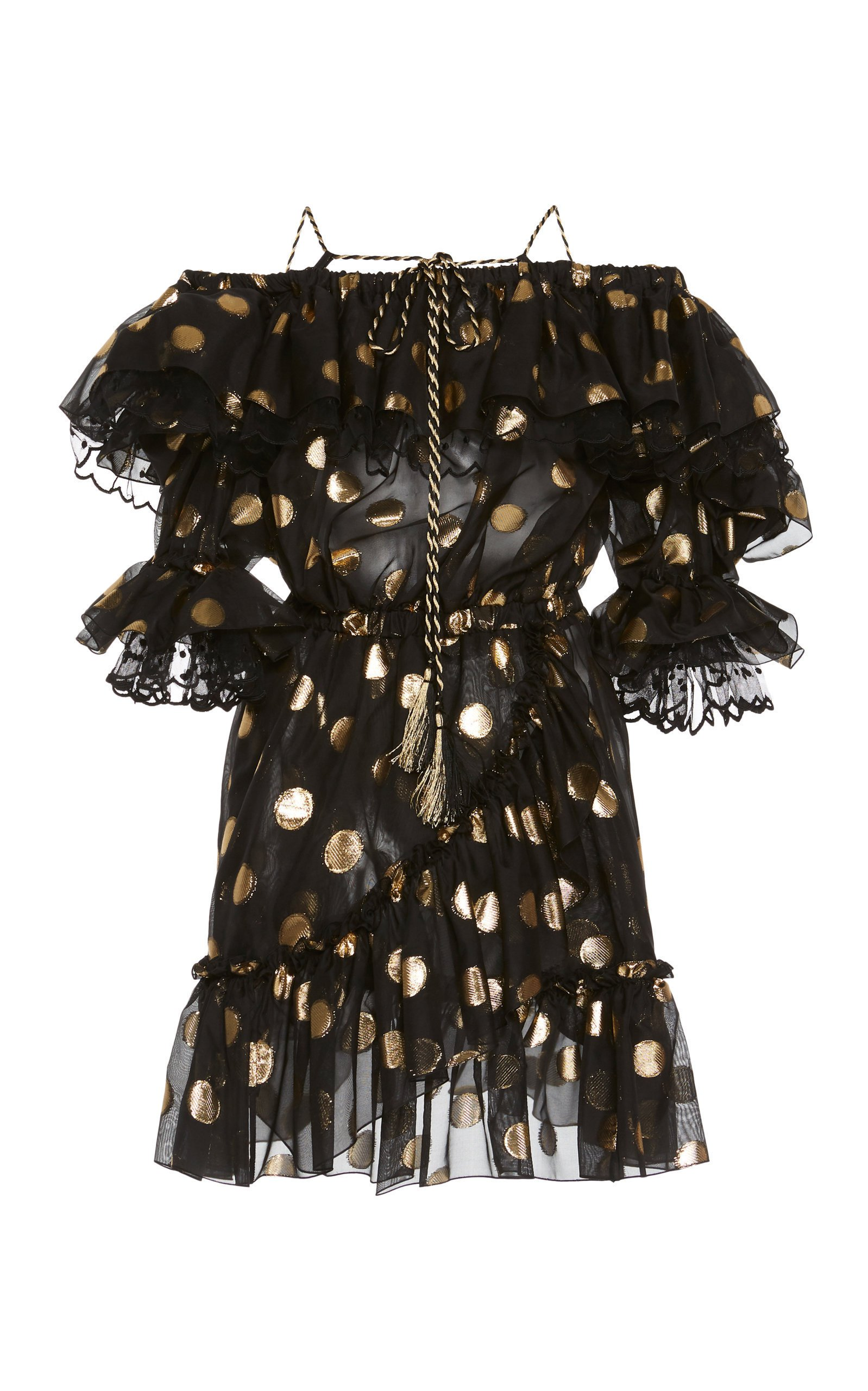 Dundas Polka Dot Ruffled Mini Dress