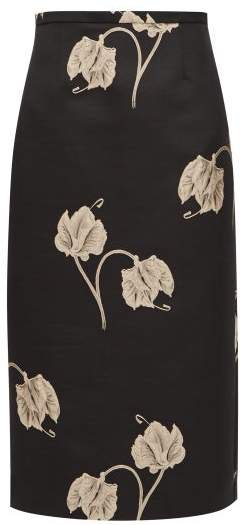 Oncidium Embroidered Orchid Pencil Skirt - Womens - Black
