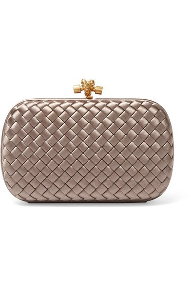 Bottega Veneta | Chain Knot intrecciato satin clutch | NET-A-PORTER.COM