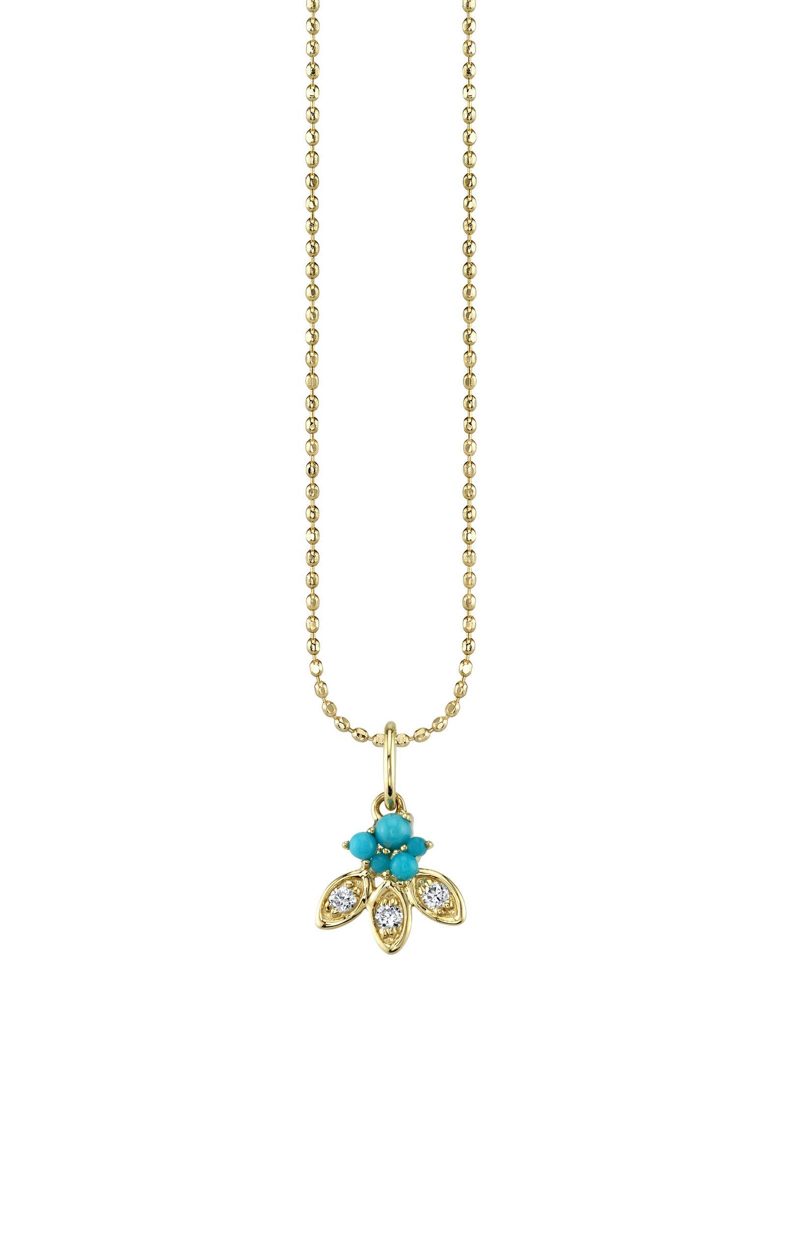 Sydney Evan Turquoise Marquise Petal Charm Necklace