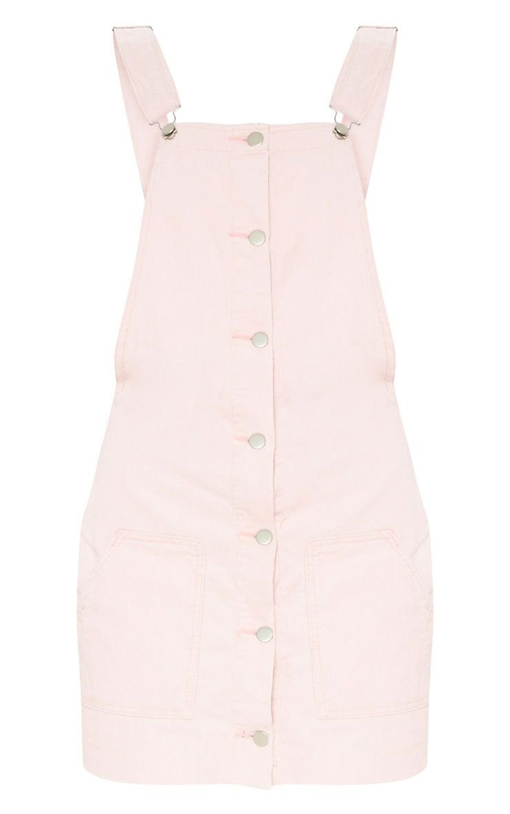 Dusty Pink Cord Pinafore   Denim   PrettyLittleThing