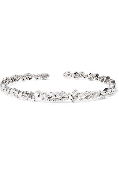 Suzanne Kalan | 18-karat white gold diamond cuff | NET-A-PORTER.COM