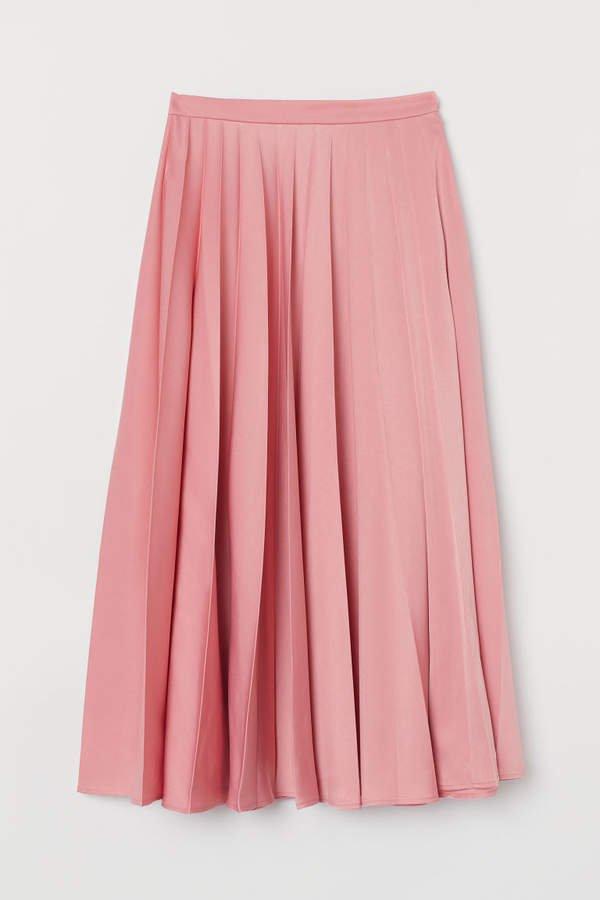 Pleated Satin Skirt - Pink