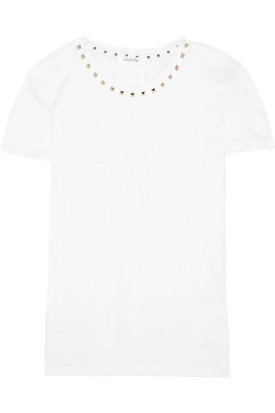 Valentino | The Rockstud embellished cotton-jersey T-shirt | NET-A-PORTER.COM