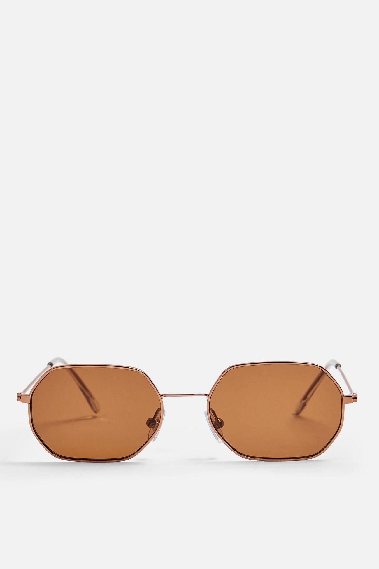 KATY Brown and Khaki Heptagon Sunglasses | Topshop