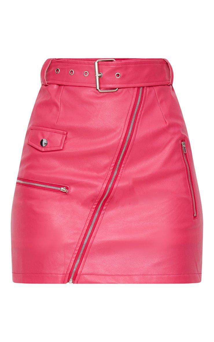 Fuchsia Biker Belted Mini Skirt   PrettyLittleThing USA